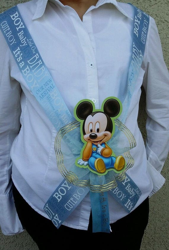 Mickey Mouse Baby Shower Sash For The Mom To Be Blue Boy Etsy