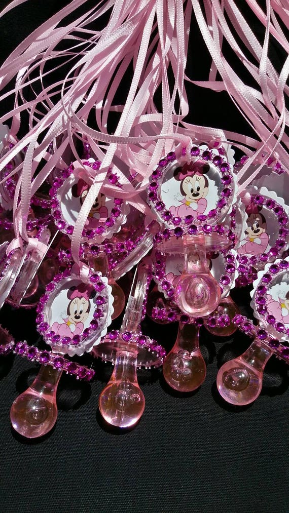 12 Minnie Mouse Pink Pacifier Necklaces Baby Shower Game Its a Girl Favors Prize