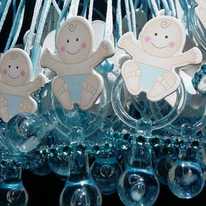 They/'re ready to Ship Today! 12Pcs Baby Shower BABY SHAKER Pacifier Necklaces Favors for Boys Game Prizes
