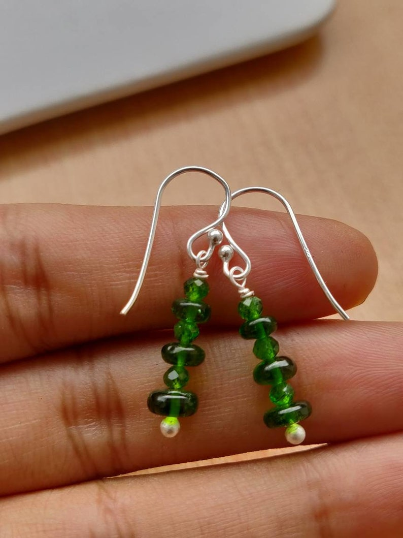 length-20mm 92.5 purity Chrome diopside plain rondelle and round facetted beads in sterling silver earrings silver ear wire,focal jewelry