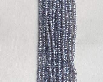 2 strands of LABRADORITE COATED rondelle facetted beads 4mm each 13""