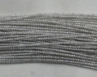 """Bead white zircon 2mm rondelle facetted 12"""" each"""
