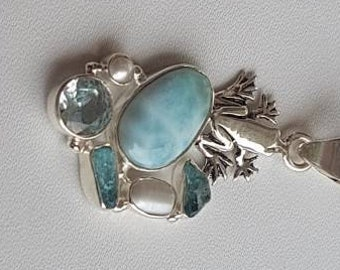 Pendant natural larimar , sky blue topaz , freshwater pearl with antiqued sterling silver frog