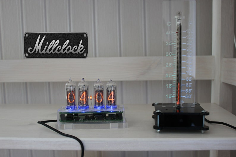 SET of the IN-13 nixie tube thermometer and IN-14 nixie clock fully  assembled
