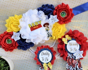 Mommy and Daddy To-Be Corsages Baby Shower Its a Boy Story Toy Story