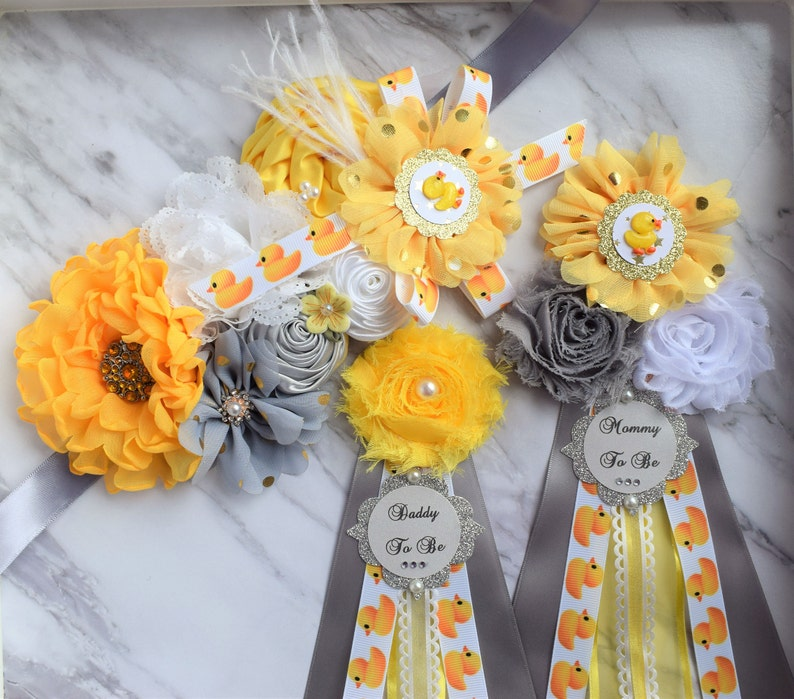 Rubber Duck Baby Shower Duck Sash Corsage Pin Set Yellow Etsy