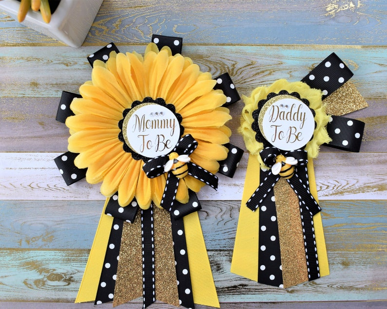 21146e667fc8b Sunflower Baby Shower, Yellow Black Flower Corsage Pin, Mommy To Be, Daddy  To Be, Gender Reveal Baby Shower, Bumble Bee & Sunflower Theme