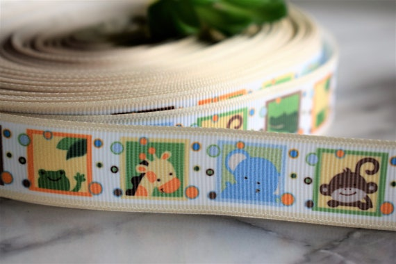 "7//8/"" wide 1 2 5m lengths Jungle Animals Printed Grosgrain Ribbon 22mm"