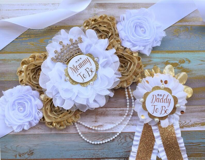 ed270dc53de Sash fleur Prince or blanc or blanc ceinture de maternité le