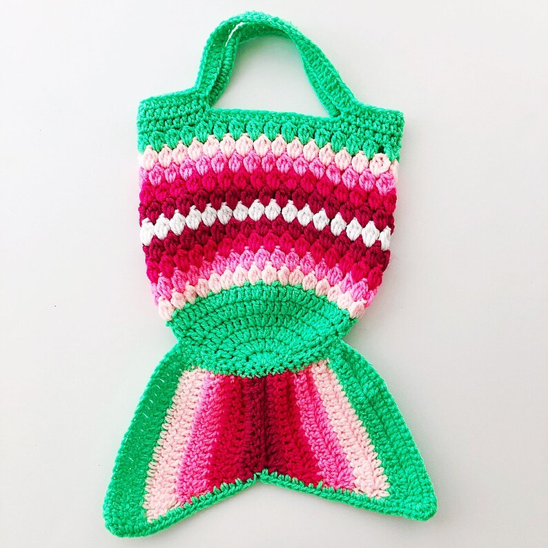 889e722e44 GREEN PINK Kids Mermaid Crochet Bag Mermaid Crochet Purse