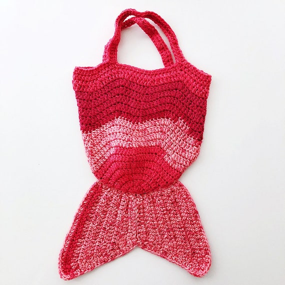 e06cfc357e RED PINK Kids Mermaid Crochet Bag Mermaid Crochet Purse