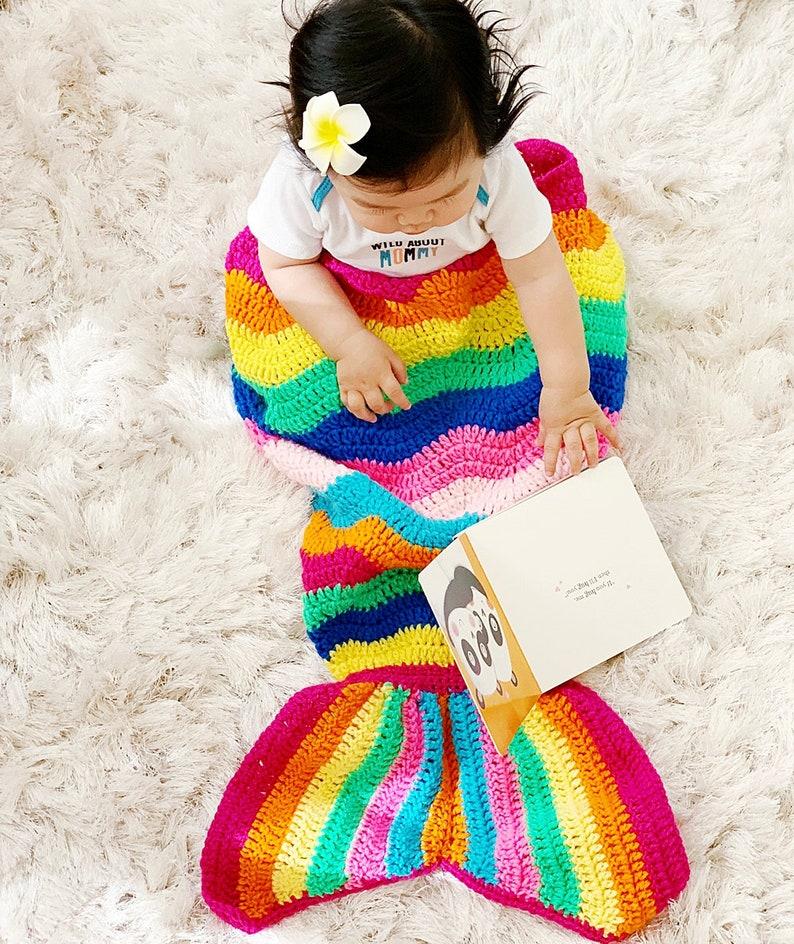 Rainbow Toddler Kids Mermaid Crochet Tail Blanket Mermaid Etsy