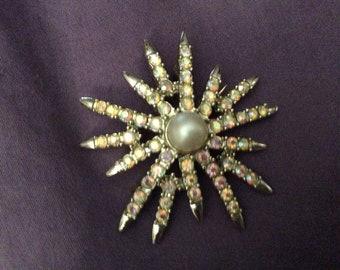 Mid-Century Starburst Faux Pearl Brooch