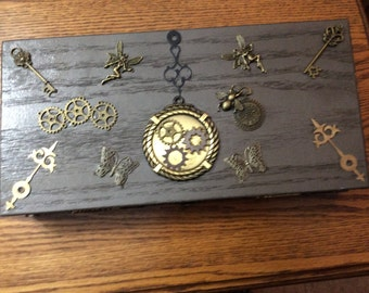 Steampunk wooden box, jewelry box or trinket box.