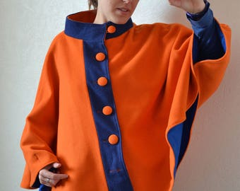 Orange and blue collar wool Cape
