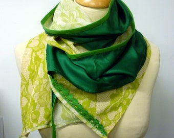 Lime green lace imitation silk and viscose scarf and grass green