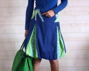 Dark blue and light green ball Bubble skirt