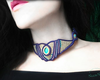 Macrame choker pastel, pastel necklace, macrame jewelry, yellow choker necklace, necklace spring summer, gift woman.