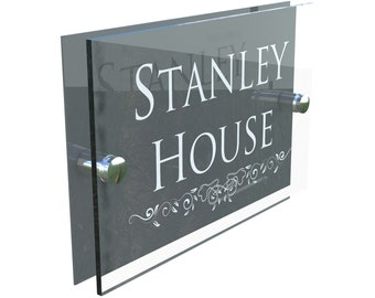 c6df0910bcb Decorative Acrylic   Aluminium Personalised Wall Plaque House Number  (DECA5-28W-A-C-G)