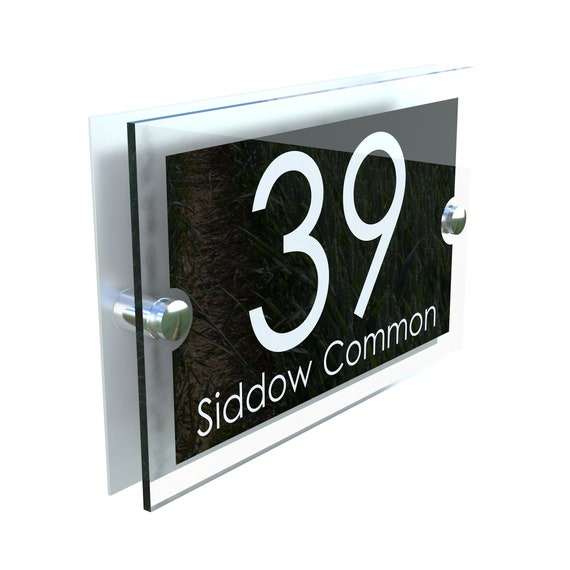 Modern House Number Plaques Acrylic Wall Door Sign Name Plate EMA4-24W-B