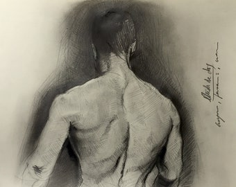 male nude study (back), drawing in pencil and charcoal on paper