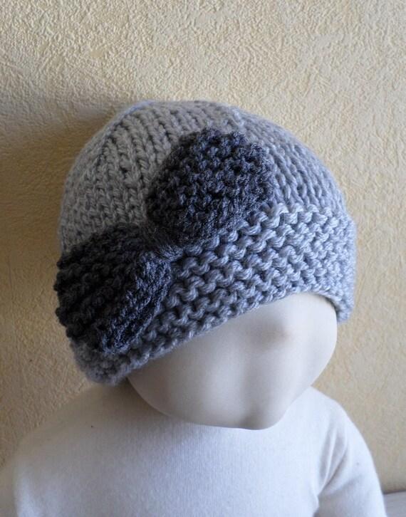 bonnet enfant avec gros noeud au tricot taille 18 mois 3 ans   Etsy cceeeb6987c