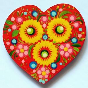 Ukraine Folk Handmade Heart Petrikovskaya Painting Refrigerator Magnets Plywood