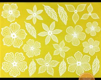 Flower and Leaves Pattern Lace Fondant Mold DIY Tool Silicone Sugar Lace Pad Fondant Cake Brim Decoration Kitchenware