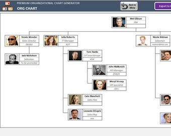 Automatic Organizational Chart Maker   Excel Org Chart Template with Photos   Ready to Print   Excel Template   Chart Maker