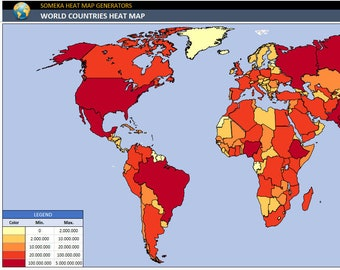 World Heat Map Excel Template   Density Map   Automatic City Coloring   Country Map of World