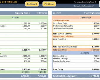 balance sheet template small business tools excel template
