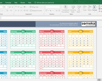 Excel Calendar Template 2019 Printable Spreadsheet Template Etsy