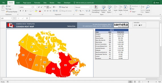 Canada Heat Map Excel Template - Automatic Province Coloring on united states map by income, us map template excel, united states county map for excel, heatmap in excel, us map for excel, bing maps excel, us map data to excel, choropleth map in excel, united states map template, microsoft power map for excel,