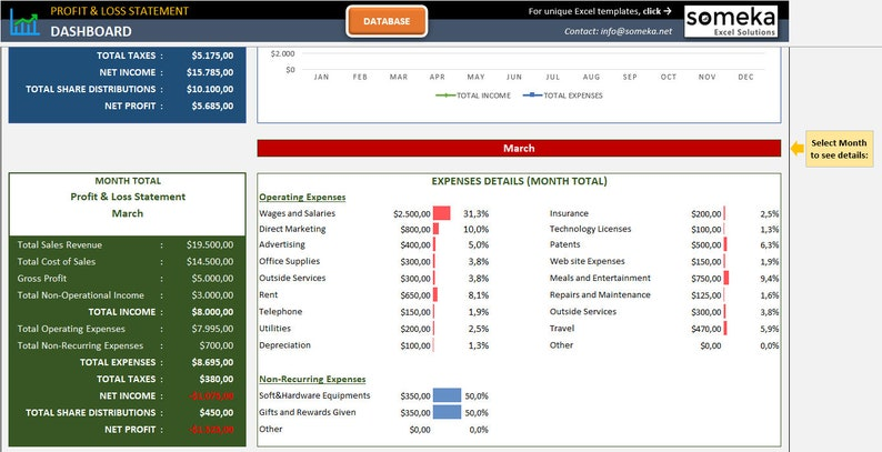 Profit & Loss Statement for Small Business Excel Template ...