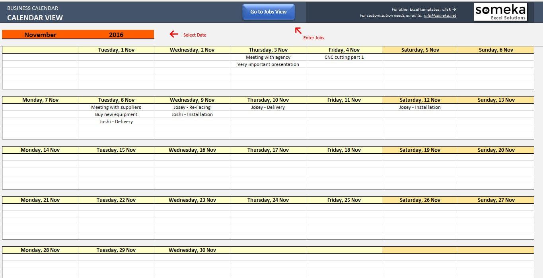 Automatische Terminplaner Kalender-Maker-Excel-Vorlage | Etsy