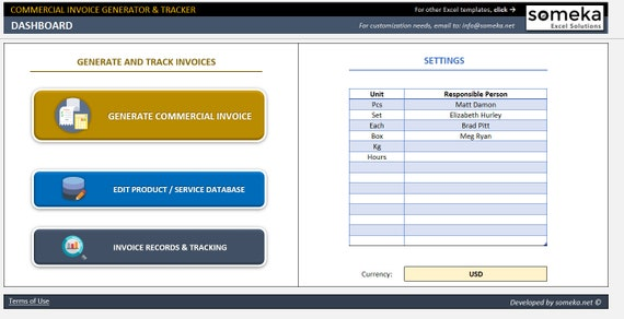 Commercial Invoice Generator And Tracker Small Business Etsy - Invoice generator for small business
