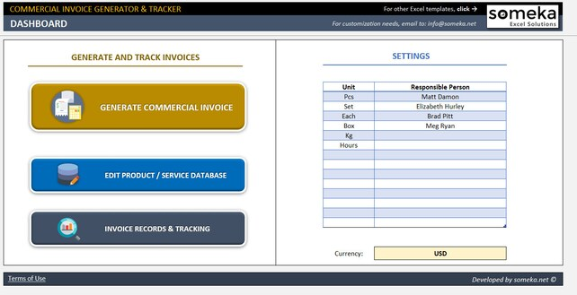 Commercial Invoice Generator And Tracker Small Business Etsy