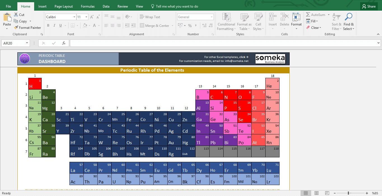 Periodensystem Arbeitsblatt druckbare Excel-Vorlage   Etsy