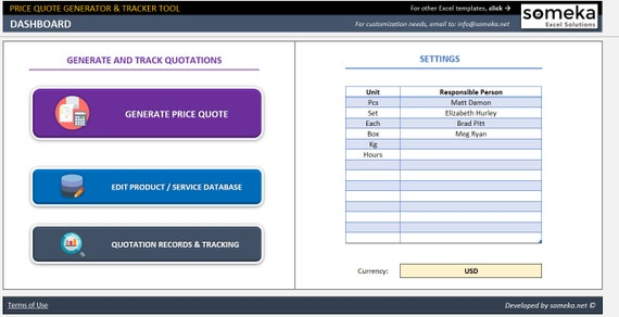 price quote generator and tracker business excel spreadsheet etsy