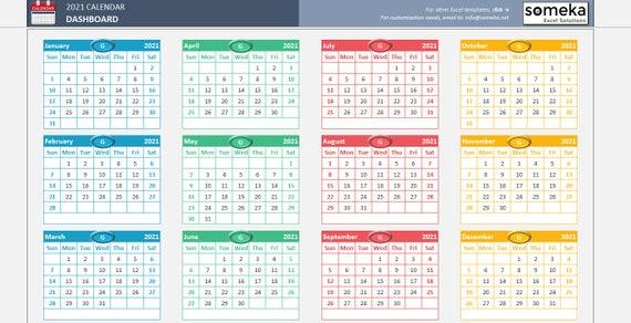Modello di calendario di Excel 2021 Calendario foglio di | Etsy