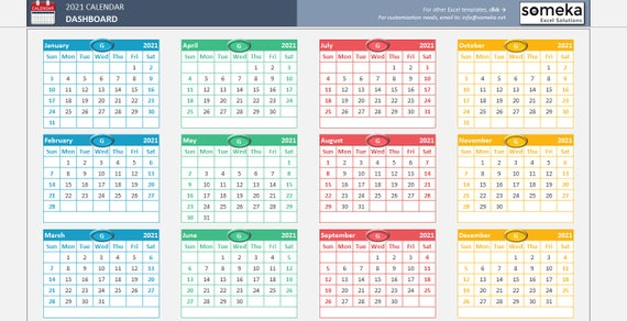 Excel Calendar Template 2021 Printable Spreadsheet Calendar | Etsy