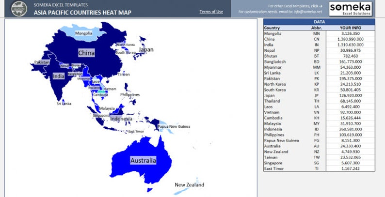 Map Of Just Asia.Asia Pacific Heat Map Excel Template Automatic Country Etsy