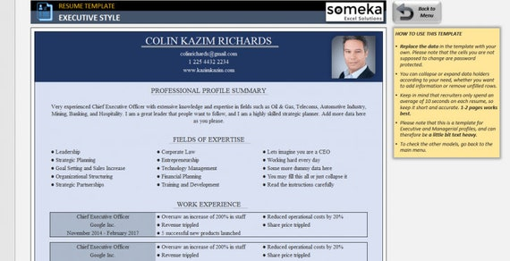 Resume Template - Excel Template