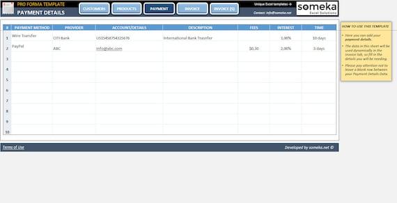 Proforma Invoice Template Excel Template
