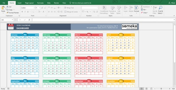 Excel Calendar Template 2019 Printable Spreadsheet