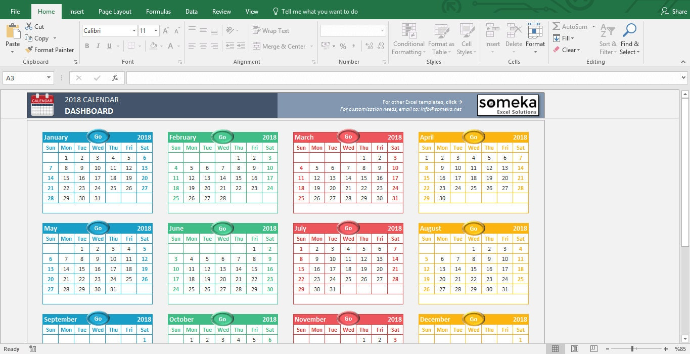 Excel Calendar Template 2019 Printable Spreadsheet Template Etsy