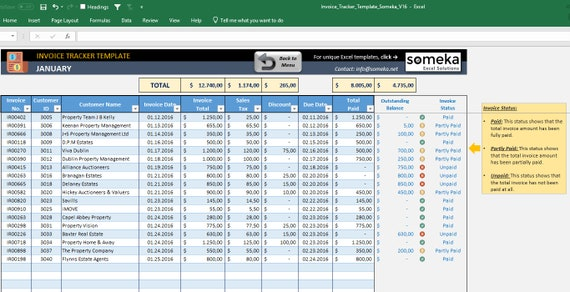 Invoice Tracker Printable Spreadsheet Invoice Spreadsheet Etsy