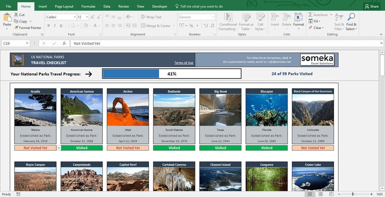 photograph relating to Printable List of National Parks known as Printable Listing of US Nationwide Parks - Excel Template