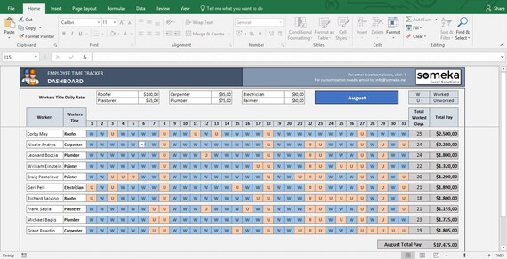 employee time tracker and payroll template in excel etsy