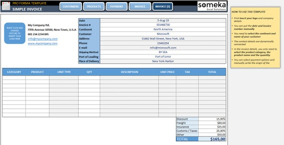 Proforma Invoice Template Excel Template Etsy